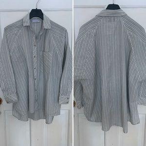 Dolman sleeve stripe cotton blend button down
